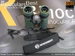 Neck strap on the Bresser Pirsch 8x34 Binoculars