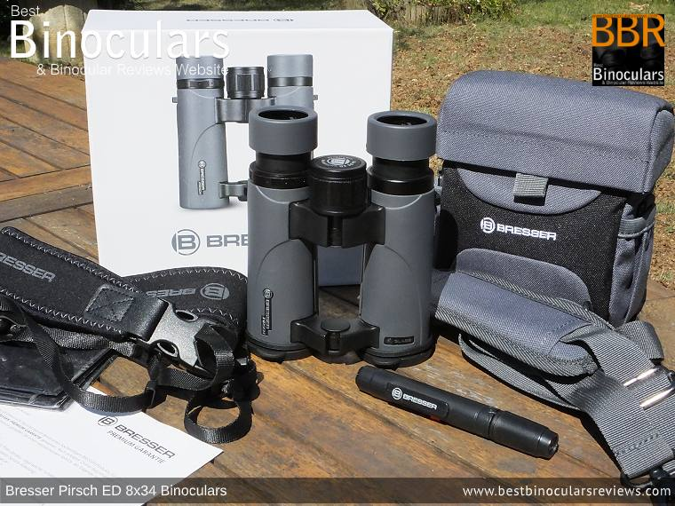 Bresser Pirsch ED 8x34 Binoculars and accessories plus packaging