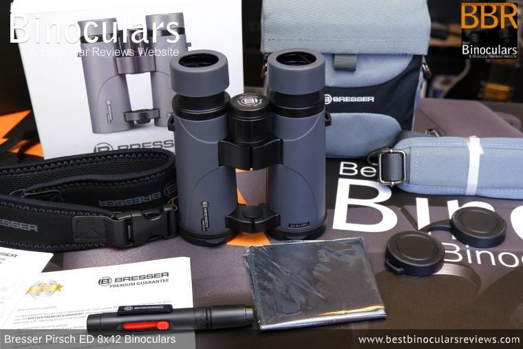 Bresser Pirsch ED 8x42 Binoculars and accessories plus packaging
