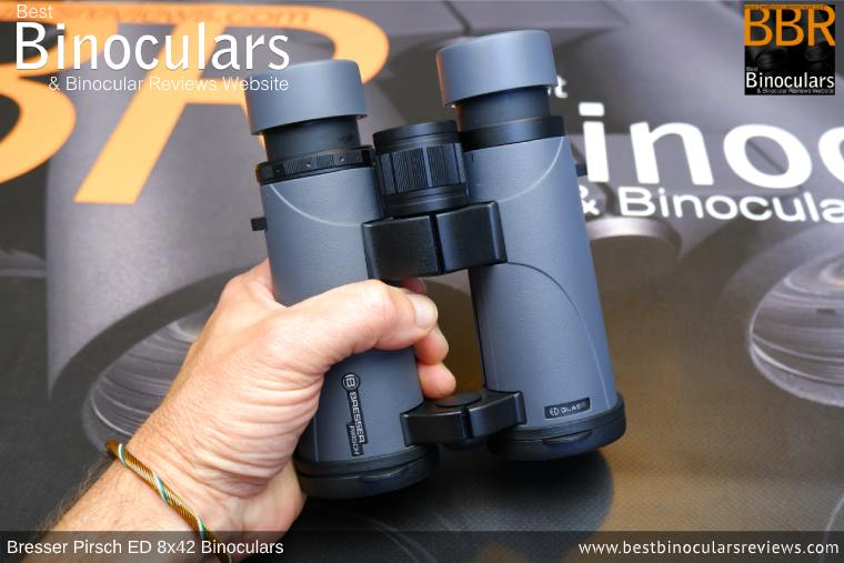 Holding the Bresser Pirsch ED 8x42 Binoculars