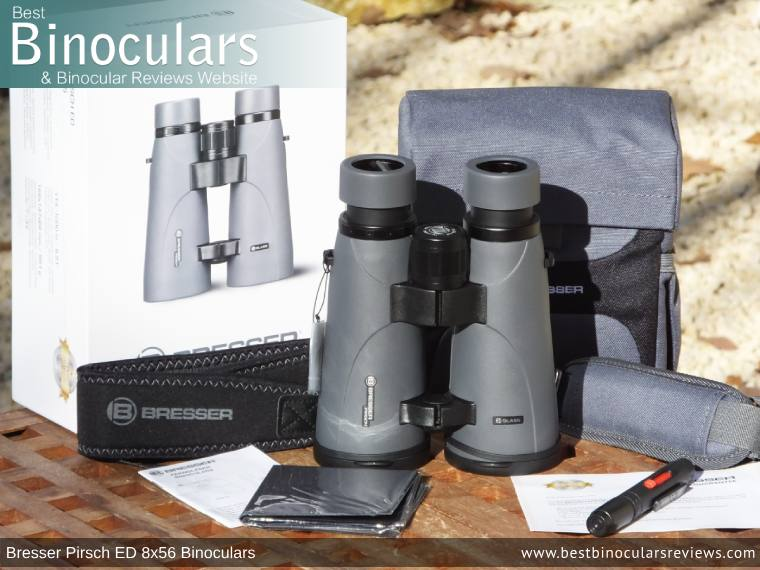 Bresser Pirsch ED 8x56 Binoculars and accessories plus packaging