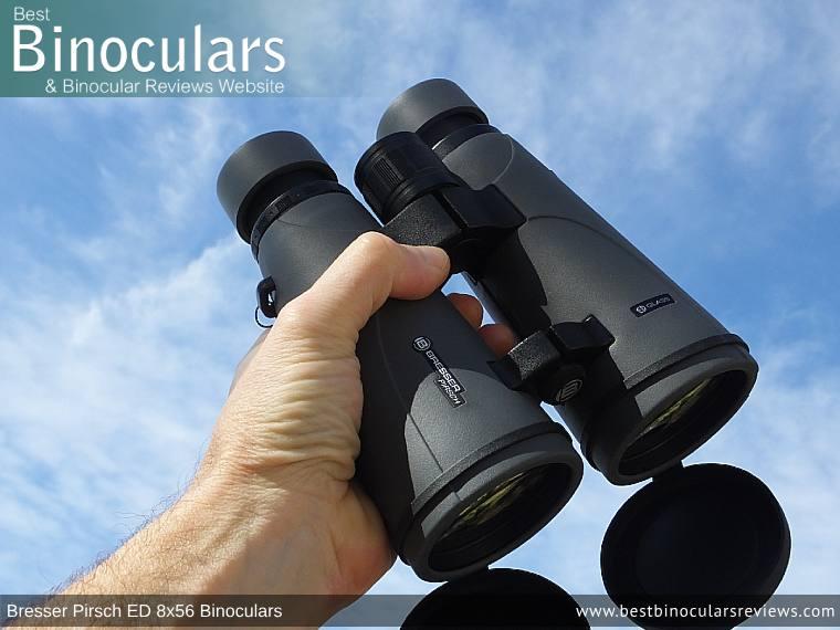 Holding the Bresser Pirsch ED 8x56 Binoculars