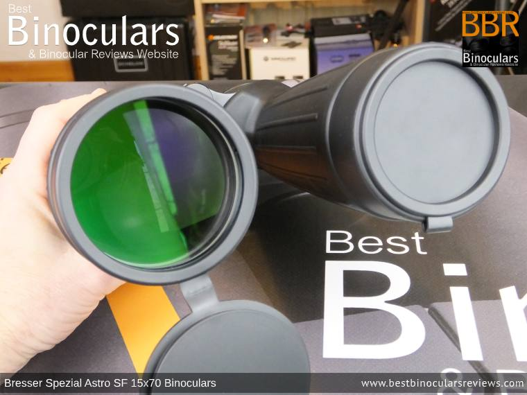 Objective Lens Covers on the Bresser Spezial Astro SF 15x70 Binoculars