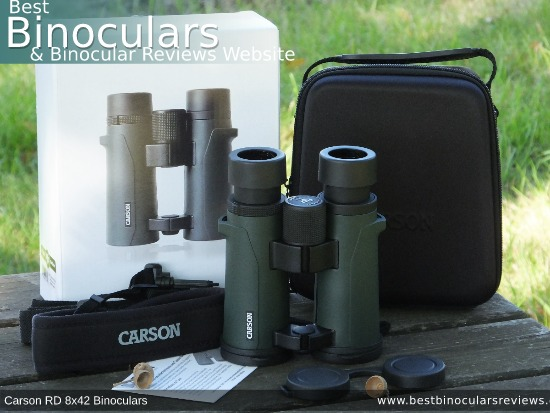 Carry Case, Neck Strap, Cleaning Cloth, Lens Covers & the Carson RD 8x42 Binoculars