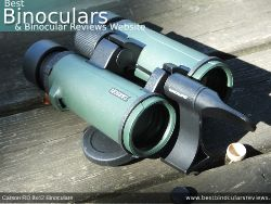 Tripod adapter attached to the Carson RD 8x42 Binoculars