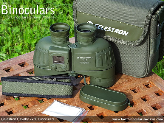 Celestron Cavalry 7x50 Binoculars with neck strap, carry case and rain-guard