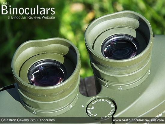 Eyecups on the Celestron Cavalry 7x50 Binoculars