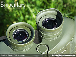 One of the Eyecups half folded down on the Celestron Cavalry 7x50 Binoculars