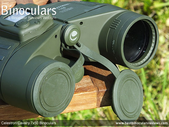Lens Covers on the Celestron Cavalry 7x50 Binoculars