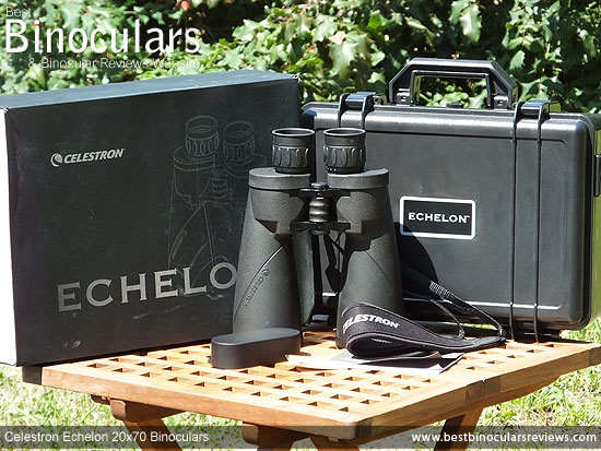Celestron Echelon 20x70 Binoculars with neck strap, hard case and rain-guard