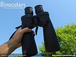 Me holding the Celestron Echelon 20x70 Binoculars