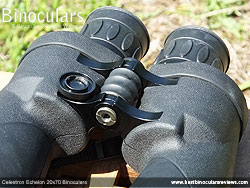 The front dust cap removed on the Celestron Echelon 20x70 Binoculars