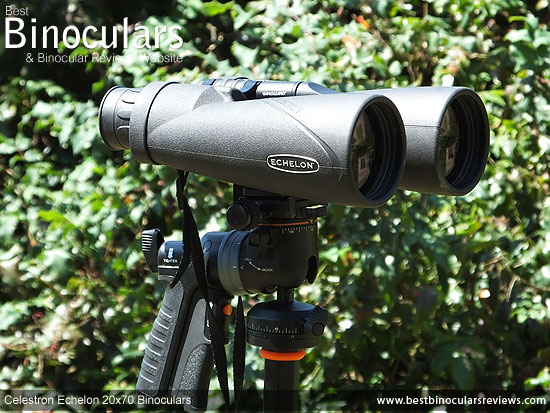 The Celestron Echelon 20x70 Binoculars mounted on a tripod