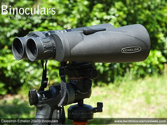 Celestron Echelon 20x70 Binoculars fixed on a tripod using a pistol grip