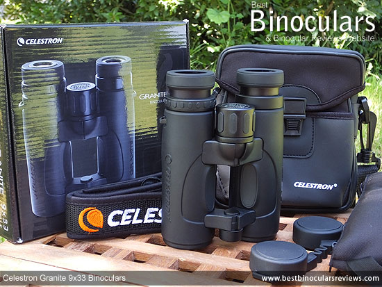 Celestron 9x33 Granite Binoculars, with carry case, harness, neck strap and lens covers