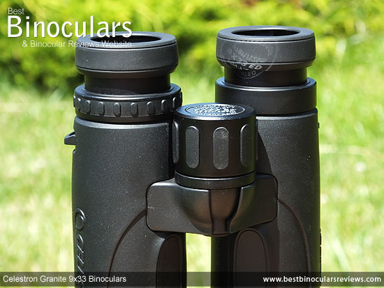 Focus wheel on the Celestron 9x33 Granite Binoculars