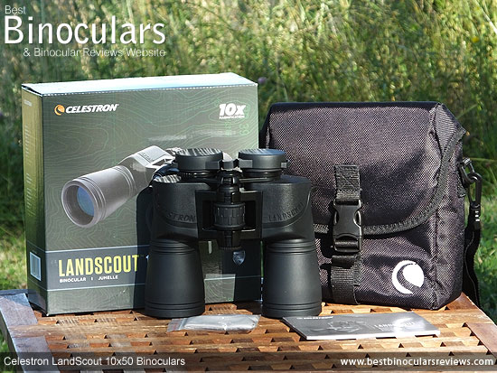 Celestron LandScout 10x50 Binoculars with neck strap, carry case and rain-guard