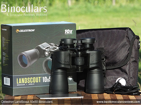 Celestron LandScout 10x50 Binoculars with neck strap, hard case and rain-guard
