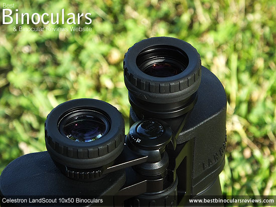 Eyecups on the Celestron LandScout 10x50 Binoculars