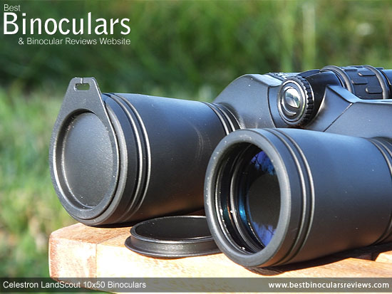 Lens Covers on the Celestron LandScout 10x50 Binoculars