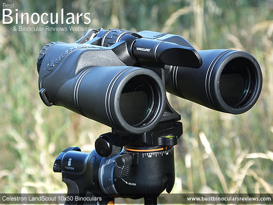Front view of the Celestron LandScout 10x50 Binoculars mounted on a tripod