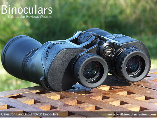 Rear view of the Celestron LandScout 10x50 Binoculars