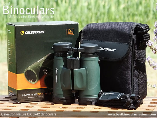 Celestron Nature DX 8x42 Binoculars with neck strap, carry case and rain-guard