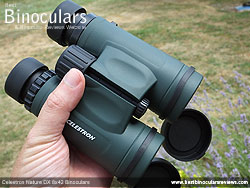 Holding the full sized 8x42 Celestron Nature DX Binoculars