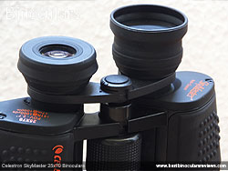 Roll-Down Rubber Eyecups on the Celestron SkyMaster 25x70 Binoculars