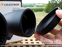 Lens Covers on the Celestron SkyMaster 25x70 Binoculars