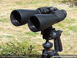 Celestron SkyMaster 25x70 Binoculars mounted on a tripod