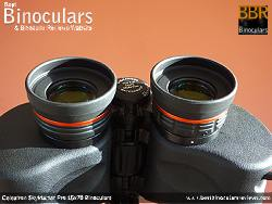 Fold-down eyecups on the Celestron SkyMaster Pro 15x70 Binoculars