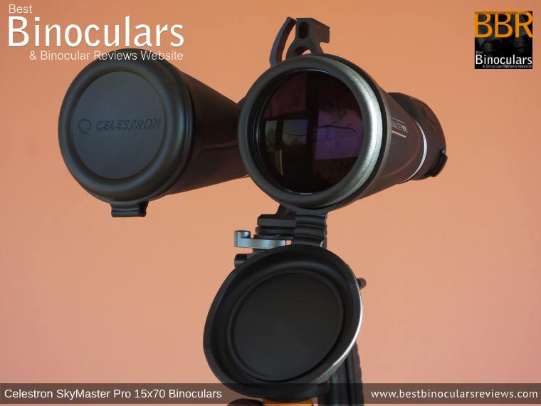 Objective Lens Covers on the Celestron SkyMaster Pro 15x70 Binoculars
