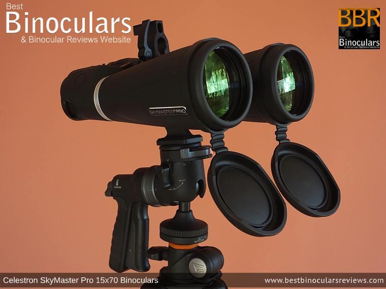 Celestron SkyMaster Pro 15x70 Binoculars on a tripod