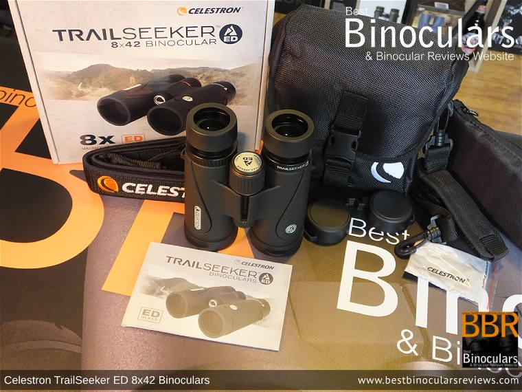 Celestron TrailSeeker ED 8x42 binoculars with neck strap, carry case and lens covers