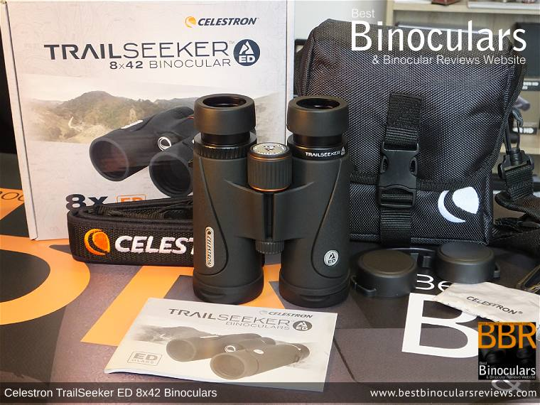 Carry Case, Neck Strap, Cleaning Cloth, Lens Covers & the Celestron TrailSeeker ED 8x42 binoculars