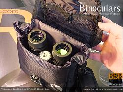 Rear view of the Carry Case & Celestron TrailSeeker ED 8x42 binoculars