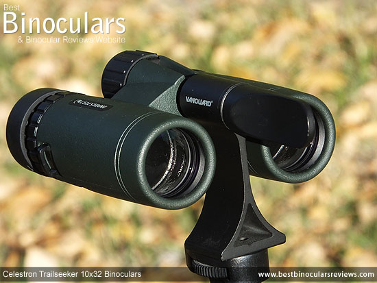 Celestron Trailseeker 10x32 Binoculars mounted on a tripod