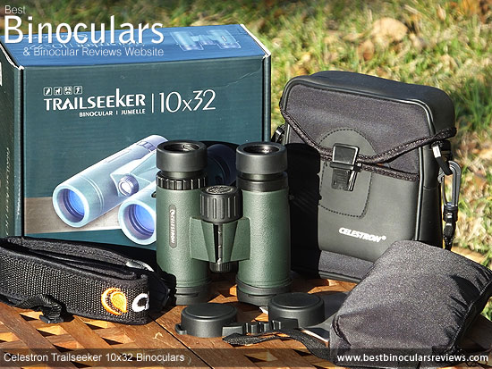 Celestron Trailseeker 10x32 Binoculars with neck strap, carry case and rain-guard