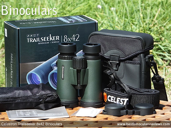 Celestron Trailseeker 8x42 Binoculars with neck strap, carry case and rain-guard