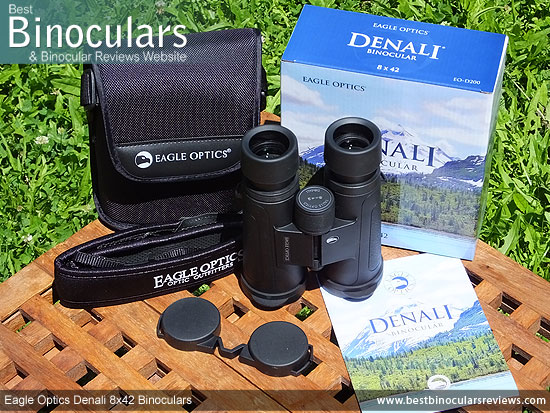 Eagle Optics Denali 8x42 Binoculars with neck strap, carry case and lens covers