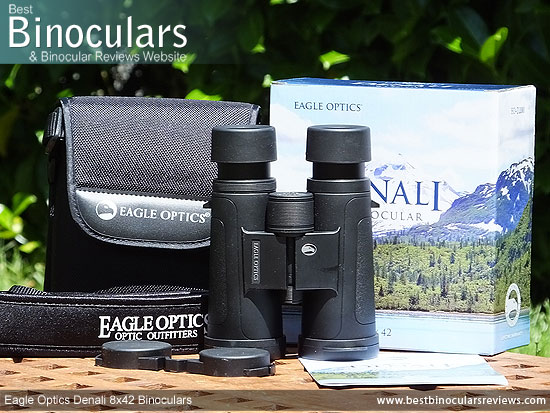 Carry Case, Neck Strap, Cleaning Cloth, Lens Covers & the Eagle Optics Denali 8x42 Binoculars