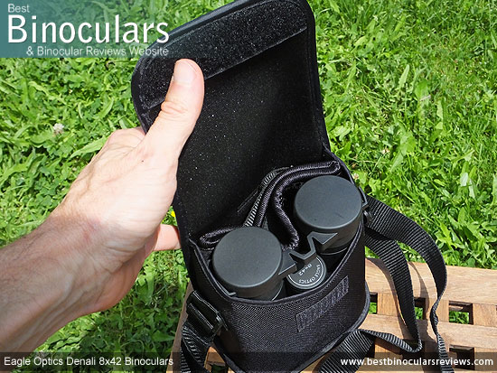 Inside the Eagle Optics Denali 8x42 Binoculars Carry Case