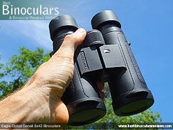 Open bridge design on the Eagle Optics Denali 8x42 Binoculars