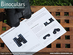 Instruction booklet for the Eagle Optics Denali 8x42 Binoculars