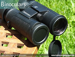 Objective Lens Covers on the Eagle Optics Denali 8x42 Binoculars