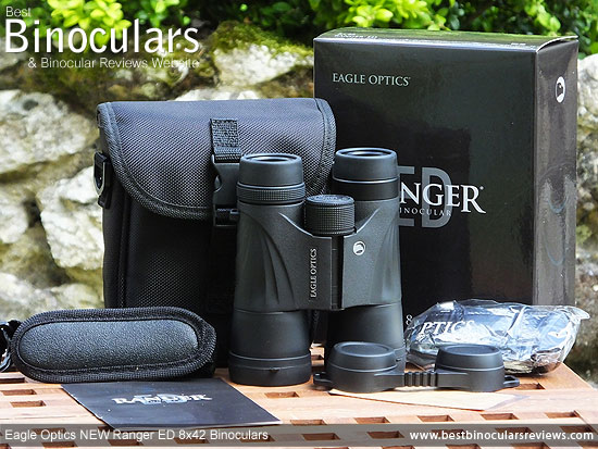 Eagle Optics NEW Ranger ED 8x42 Binoculars with neck strap, carry case and rain-guard