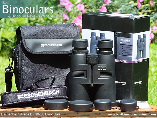 Eschenbach Arena D+ 10x50 Binoculars with neck strap, carry case, cleaning cloth & lens covers