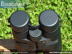 Eyepiece covers on the Eschenbach Arena D+ 10x50 Binoculars
