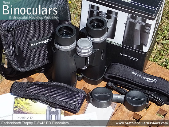 Eschenbach Trophy D 8x42 ED Binoculars with neck strap, carry case and lens covers